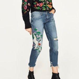 Zara MidRise Embroidered Boyfriend Jeans 2 #3175